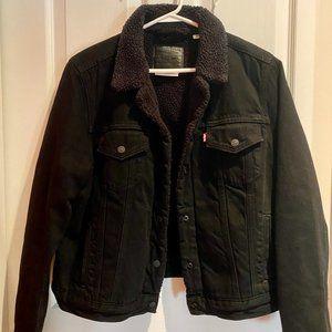 Levi Ex-boyfriend Black Sherpa Trucker Jacket
